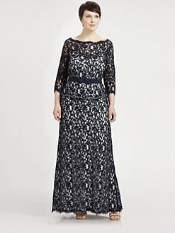 Tadashi Shoji, Salon Z - Lace Peplum Gown