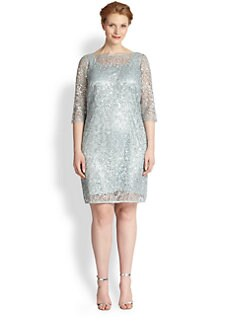 Kay Unger, Sizes 14-24 - Lace Sheath Dress
