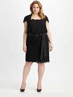 Tadashi Shoji, Salon Z - Lace Blouson Dress