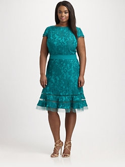 Tadashi Shoji, Salon Z - Embroidered-Overlay Dress