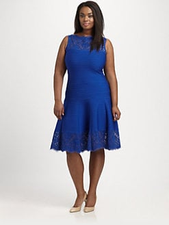 Tadashi Shoji, Sizes 14-24 - Pintucked Flared Dress