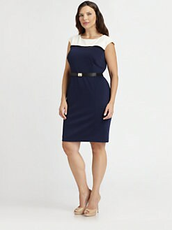 Kay Unger, Salon Z - Belted Colorblock Dress