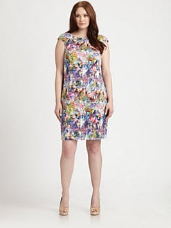 Kay Unger, Salon Z - Boatneck Floral-Print Dress