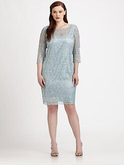 Kay Unger, Salon Z - Lace/Sequin Shift Dress