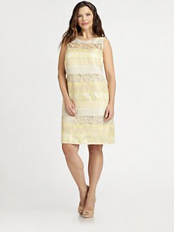 Kay Unger, Salon Z - Sleeveless Mixed-Media Dress