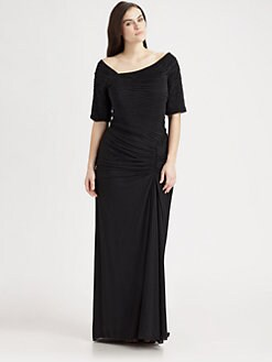 Tadashi Shoji, Salon Z - Asymmetric Ruched Gown