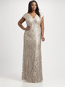 Tadashi Shoji, Salon Z - Lace-Overlay Gown