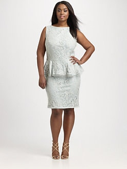 Tadashi Shoji, Salon Z - Lace-Overlay Peplum Dress