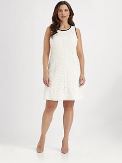 ABS, Salon Z - Leather-Trim Sleeveless Lace Dress