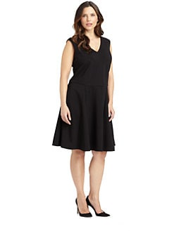 ABS, Sizes 14-24 - Sleeveless A-Line Dress