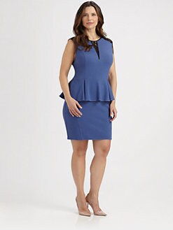 ABS, Salon Z - Lace-Contrast Peplum Dress