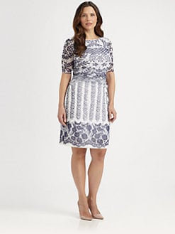 Kay Unger, Salon Z - Lace-Print Mesh Dress