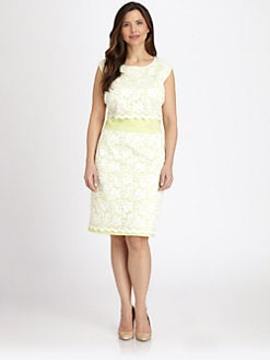 ABS, Salon Z - Lace-Front Dress