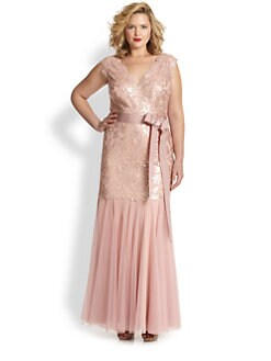 Tadashi Shoji, Sizes 14-24 - Double V-Neck Sequin Lace Gown