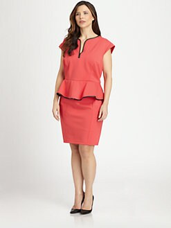 ABS, Salon Z - Leather-Trimmed Peplum Dress