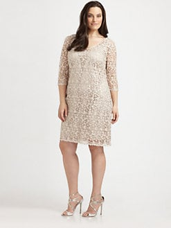 Kay Unger, Salon Z - Lace/Sequin V-Neck Dress