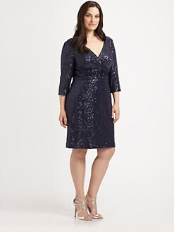 Kay Unger, Salon Z - Sequin V-Neck Dress