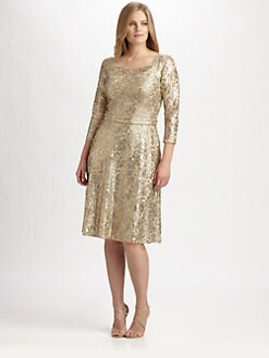 David Meister, Salon Z - Metallic Lace/Sequin Dress