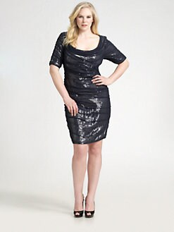 Tadashi Shoji, Salon Z - Silk Chiffon and Sequin Dress