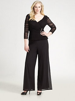 Tadashi Shoji, Salon Z - Pleated Mesh Top