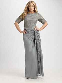 Tadashi Shoji, Salon Z - Lace-Bodice Gown