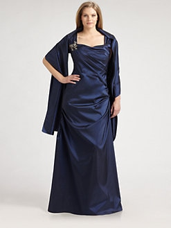 Tadashi Shoji, Salon Z - Brooch-Adorned Taffeta Gown