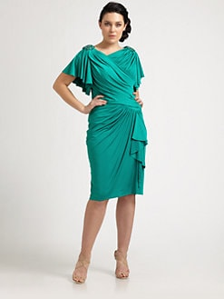 Tadashi Shoji, Salon Z - Flutter-Sleeve Ruched Dress