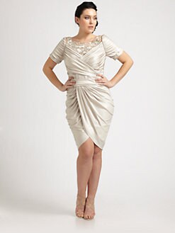 Tadashi Shoji, Salon Z - Embellished-Neckline Side-Drape Dress