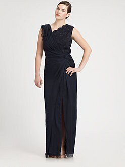 Tadashi Shoji, Salon Z - Beaded-Mesh-Neckline Dress