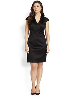 Kay Unger, Salon Z - Beaded-Shoulder Satin Dress