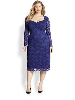 ABS, Sizes 14-24 - Lace Sheath Dress