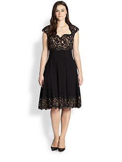 Tadashi Shoji, Sizes 14-24 - Lace Top/Pleated-Skirt Dress