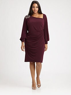 David Meister, Salon Z - Asymmetrical-Neckline Dress