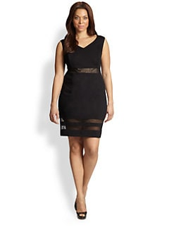 ABS, Sizes 14-24 - Mesh-Inset Dress