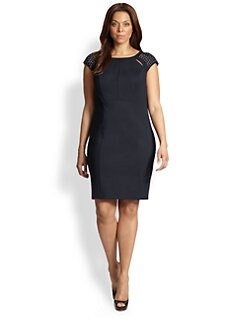 ABS, Sizes 14-24 - Studded-Shoulder Dress