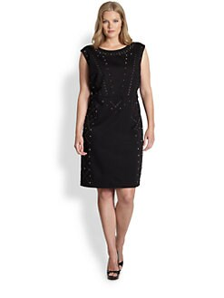 ABS, Salon Z - Stud-Detail Sheath Dress