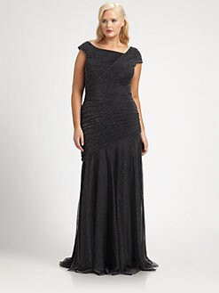 Tadashi Shoji, Salon Z - Asymmetrical-Pleat Gown