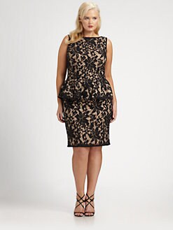 Tadashi Shoji, Salon Z - Lace Peplum Dress