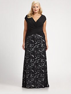 Tadashi Shoji, Salon Z - Draped-Bodice Gown