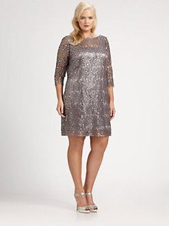 Kay Unger, Salon Z - Metallic Lace Dress