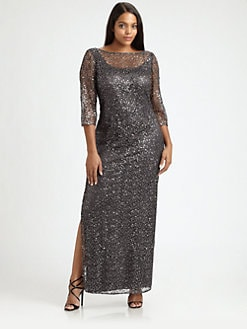 Kay Unger, Salon Z - Shimmer Lace Gown