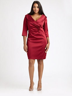 Kay Unger, Salon Z - Pleat-Front Satin Dress