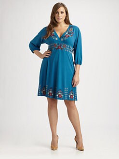 Johnny Was, Salon Z - Cotton Embroidered-Trim Dress