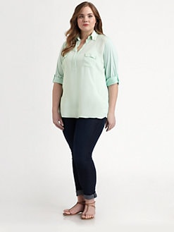 Splendid, Salon Z - Jersey Roll-Tab Blouse