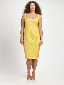 Anna Scholz, Salon Z - Jacquard/Lace Sheath Dress