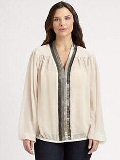 Sheri Bodell, Salon Z - Silk-Chain Link-Trim Blouse
