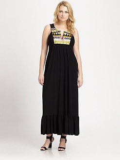 T-bags Los Angeles, Salon Z - Embroidered-Neckline Maxi Dress