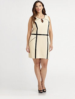 Sheri Bodell, Salon Z - Faux Leather-Detail Sheath Dress