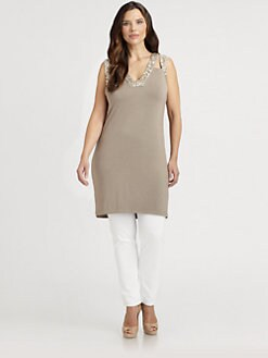 Sheri Bodell, Salon Z - Encrusted-Strap Tank Dress
