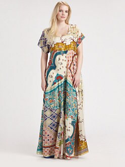 Johnny Was, Salon Z - Silk Patchwork Maxi Dress